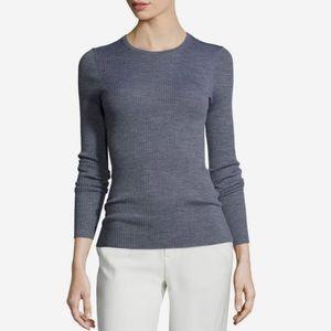 NWT Theory Mirzi Refine Wool Rib Sweater Chambray